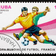 Postage stamp Cuba 1997 Soccer Players in Action — Stock Photo