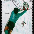 Postage stamp Cuba 1990 Soccer Goalie in Action — Stock Photo
