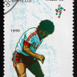 Postage stamp Cuba 1990 Soccer Players in Action — Stock Photo