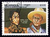 Postage stamp Nicaragua 1983 Simon Bolivar and General Sandino — Stock Photo