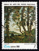 Postage stamp Cuba 1980 The Oak Trees, by Henry Joseph Harpignie — Stock Photo