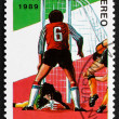 Postage stamp Nicaragua 1989 Soccer Player in Action — Stock Photo