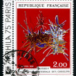 Postage stamp France 1974 In Honor of Nicolas Fouquet, Tapestry — Stock Photo #33709863