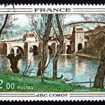 Постер, плакат: Postage stamp France 1977 Bridge at Mantes by Corot