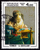 Postage stamp France 1982 The Lacemaker, by Vermeer — Stock Photo