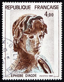 Postage stamp France 1982 Young Greek Soldier, Hellenic Sculptur — Stock Photo