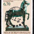 Postage stamp France 1996 Gallo-Roman Statue of Horse — Stock Photo #33800505