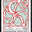 Postage stamp France 1985 Octopus Overlaid on Manuscript — Stock Photo