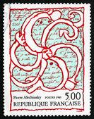 Postage stamp France 1985 Octopus Overlaid on Manuscript — Stock Photo
