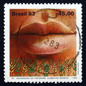 Postage stamp Brazil 1983 Mouth and Grain — 图库照片