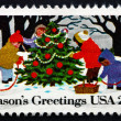 Postage stamp USA 1982 Children Playing in the Snow, Christmas — Stock Photo