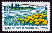 Postage stamp USA 1969 Poppies and Lupines along Highway — Stock Photo