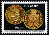 Postage stamp Brazil 1982 Emperor Pedro's Coronation Coin — Stock Photo
