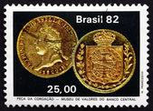 Postage stamp Brazil 1982 Emperor Pedro's Coronation Coin — Stock Photo
