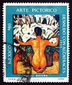 Postage stamp Mexico 1986 Desnudo con Alcatraces, by Diego River — Stock Photo