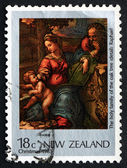 Postage stamp New Zealand 1983 Holy Family, Painting by Raphael — Stock Photo