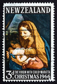 Postage stamp New Zealand 1977 Virgin with Child, by Carlo Marat — Stock Photo