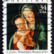 Stock Photo: Postage stamp US2001 Virgin and Child, by Lorenzo Costa