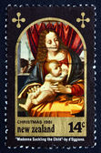 Postage stamp New Zealand 1981 Madonna and Child, by Marco d'O — Stock Photo