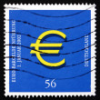 Stock Photo: Postage stamp Germany 2002 Introduction of Euro, Jan. 1