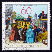 Postage stamp Germany 1981 People by Mail Coach, Lithograph — Stock Photo