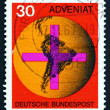 Postage stamp Germany 1967 Cross and Map of South America — Stock Photo