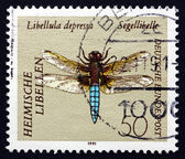 Postage stamp Germany 1991 Broad-bodied Darter, Dragonfly — Stock Photo