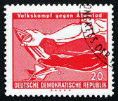 Postage stamp GDR 1990 Arms Breaking A-Bomb — Stock Photo