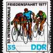 Stock Photo: Postage stamp GDR 1977 At Finish Line, Bicycling Race