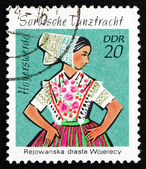 Postage stamp GDR 1971 Sorbian Dance Costume, Hoyerswerda — Stock Photo