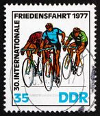 Postage stamp GDR 1977 At Finish Line, Bicycling Race — Stock Photo