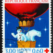 Postage stamp France 1996 Snowman and Polar Bear — Stock Photo
