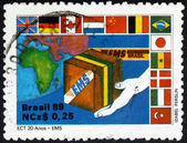 Postage stamp Brazil 1989 Express Mail, EMS — Stock Photo