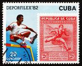 Postage stamp Cuba 1982 Hurdler, Athlete — Stock Photo