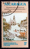 Postage stamp Nicaragua 1975 Boston Massacre, American Bicentenn — Stock Photo