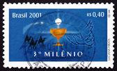 Postage stamp Brazil 2000 Chalice and Eucharist — Stock Photo