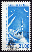 Postage stamp Brazil 1963 Radar Tracking Station and Rockets — Stock Photo
