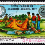 Postage stamp Grenada 1977 Erecting Tent — Stock Photo #36526173