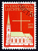 Postage stamp Liechtenstein 1966 Vaduz Parish Church — Stock Photo