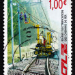 Postage stamp Luxembourg 2006 Workers Repairing Electrical Wires — Stock Photo