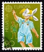 Postage stamp Switzerland 1989 Blindman's Buff, Children — Stock Photo