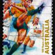 Postage stamp Australia 1999 Kicking Ball, Test Rugby — Stock Photo