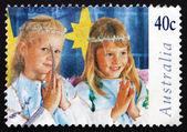 Postage stamp Australia 1997 Children in Christmas Nativity Page — Stock Photo