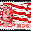 Postage stamp USA 1962 Senior Girl Scout and Flag — Stock Photo