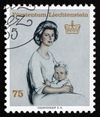 Postage stamp Liechtenstein 1965 Princess Gina and Prince Franz — Stock Photo