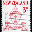 Stock Photo: Postage stamp New Zealand 1958 Nelson Diocese Seal
