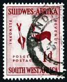 Postage stamp South West Africa 1987 Rock Painting of Two Bucks — Stock Photo