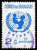 Znaczek emblemat unicef paragwaj 1972 — Zdjęcie stockowe