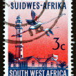 Stock Photo: Postage stamp South West Afric1962 Swakopmund Lighthouse and F