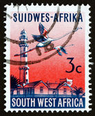 Postage stamp South West Africa 1962 Swakopmund Lighthouse and F — Stock Photo